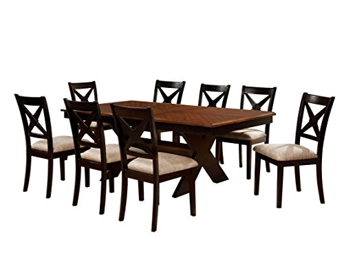HOMES Inside Out IDF-3776T-9PC Cresanka 9 Piece Dark Oak and Black Dining Set