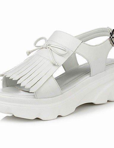 ShangYi Womens Shoes Flat Heel Platform / Comfort / Open Toe Sandals Outdoor / Dress White / Silver White