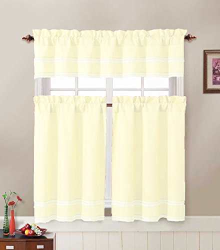 - 3 Piece Kitchen Window Treatment Set with Pintuck Accent Stripes Including 2 Tier Panel Curtains and 1 Valance (Ivory)
