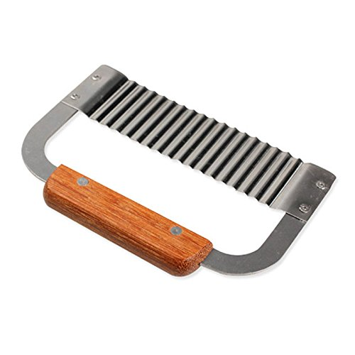 Namivad Hardwood Handle Crinkle Wax Vegetable Stainless Steel Wavy Soap Potato Slicer Cutter