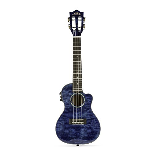 Lanikai Model QM-BLCEC Quilted Maple Blue Cutaway Electric Acoustic Concert Ukulele by Lanikai