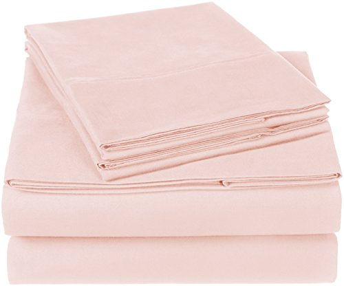 Dusty Pink Cotton - Pinzon 300 Thread Count Organic Cotton Bed Sheet Set, Queen, Blush Pink