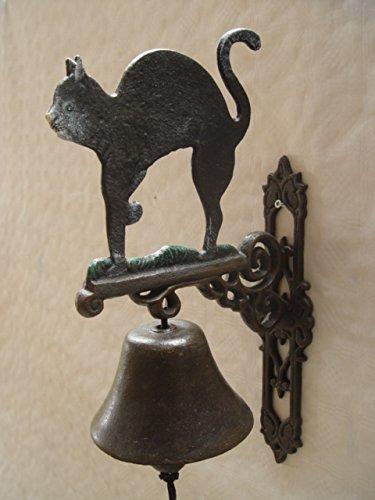Wandglocke Türglocke Glocke Katze Kater Gusseisen Landhaus Antikstil H 43 cm