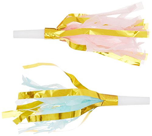 Foil Party Horns (Ginger Ray PM-946 Pick And Mix Mint & Pastel Pink Foil Party Horn Blowers (10 Pack), Gold)