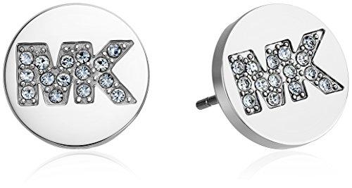 (Michael Kors Silver-Tone MK Pave Logo Stud Earrings)