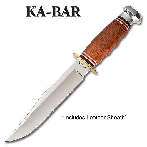 "KA-BAR 1236, Stacked Leather Handled Hunter Knife, Bowie 11 13/16"""