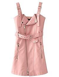 Bewish Womens Fashion PU Skirt Adjustable Shoulder Strap Front Zipper Dress with Belt