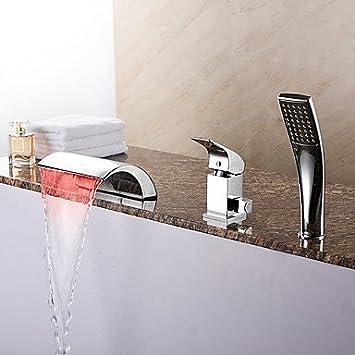 Baignoire contemporaine LED / cascade / douchette avec céramique ...