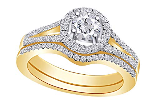 Womens Round Diamond Bridal Wedding Engagement Engagement Ring 14kt Yellow Gold Set Set 1.00 Cttw Ring Size-4.5 ()