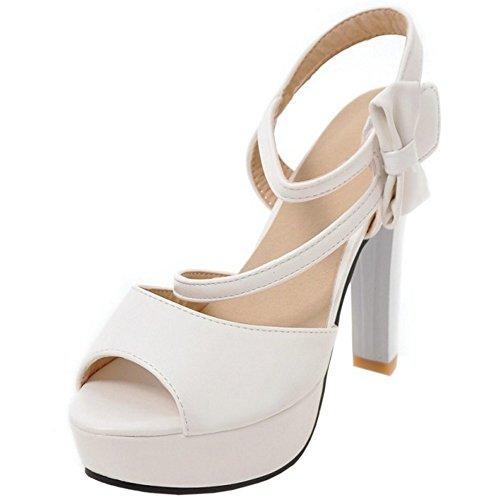 With Blanco Tobillo bowknot Mujer COOLCEPT Al Zapatos Plataforma Velcro Toe Tacon Sandalias Peep Ancho Moda t7wwWd4q6