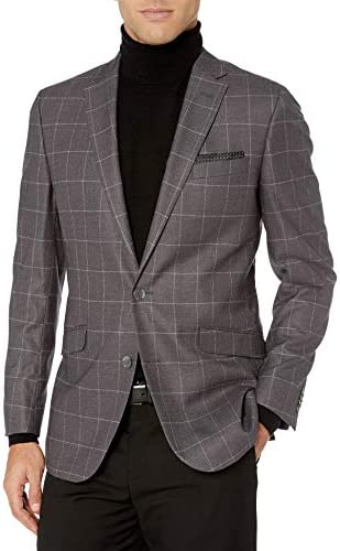 Kenneth Cole REACTION Slim Fit Men`s Blazer Grey Windowpane 36S / Kenneth Cole REACTION Slim Fit Men`s Blazer Grey Windowpane 36S