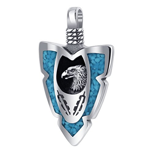 Gem Avenue 925 Sterling Silver Arrowhead Turquoise Gemstone Chip Inlay Southwestern Style Eagle Pendant