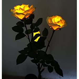 Solar Yellow Rose Flower Lights , Lamp, Solar Powered Garden Outdoor Decorative Landscape LED Rose Lights Year-round, Great Gift! 2