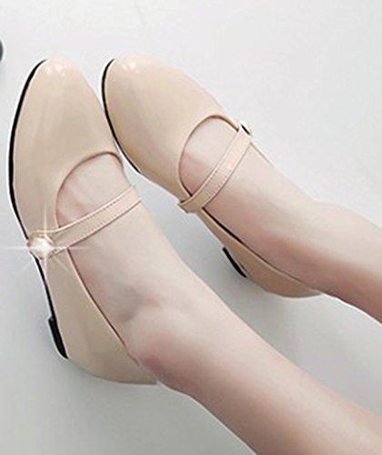 Aisun Damen Unsichtbarer Keilabsatz Lackleder Schnalle Pumps Schuhen Aprikosenfarben