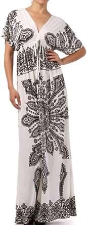 FO11008 - Printed V-Neck Cap Sleeve Empire Waist Long / Maxi Dress - White/One Size
