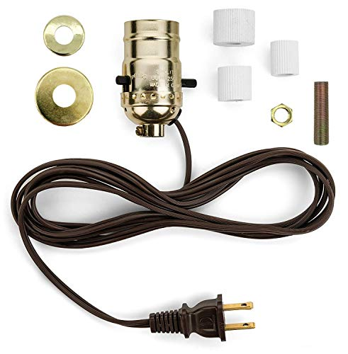 Creative Hobbies M995N-M38 Multi Size Lamp Wiring Kit for Wine, Oil, Liquor Bottle Lamp Conversion -Pre-Wired Ready to Use, DIY Lamp, Unique Side Exit Socket Cap No Drilling Required ()