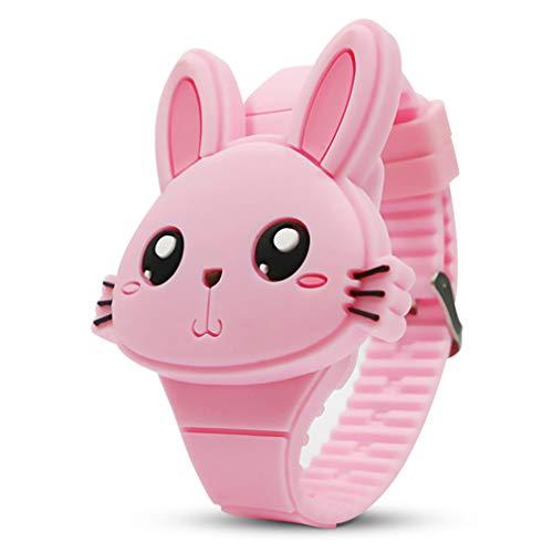 Pink Girls Watch - Kids Digital Watch,Cute Rabbit Shape,Girl Gifts. (Pink)