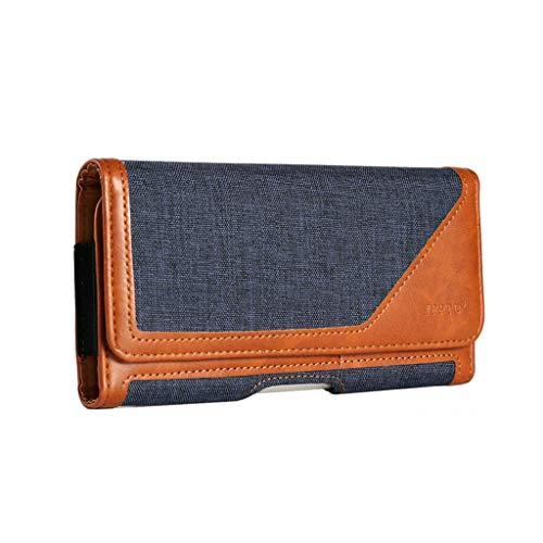 Premium Metal Belt Clip Holster Case Phone Pouch Holder w/Belt Loop ID Credit Card Slots Compatible iPhone Xs Max / 8 Plus, Galaxy S10 Plus / S9 Plus, LG V50 V40 ThinQ, Google Pixel 3 XL / 2XL (Blue) ()