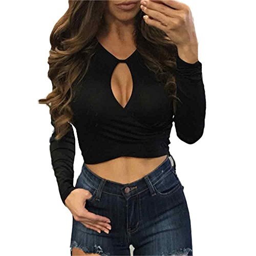 Culater® Femmes Midriff-baring Hollow Out Bretelles Chic svelte Manches longues Tops