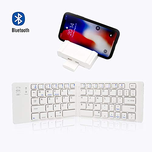 PFCKE Foldable Bluetooth Keyboard Portable Ultra Slim Mini BT Folding Keyboard Pocket Full Size Rechargeable Wireless for iPhone iPad Android Windows Tablets and Phones