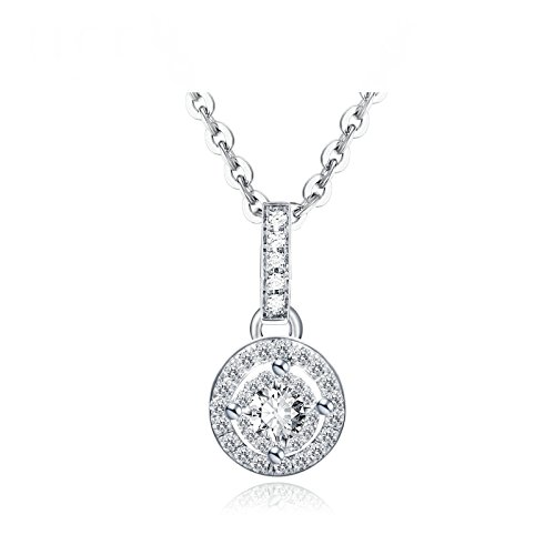 Daesar 18K White Gold Necklace For Women Hollow Round Four Claw Diamond Necklace White Chain Length:45CM by Daesar
