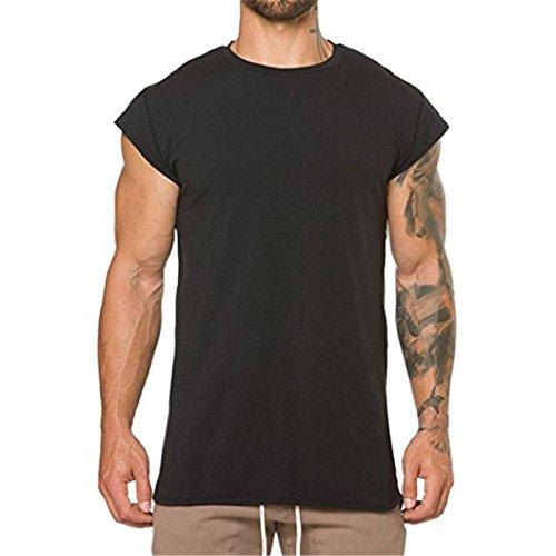 Mens Workout Gym Tanks Muscle Shirts Drop Shoulder Tee T-Shirts Black X-Large