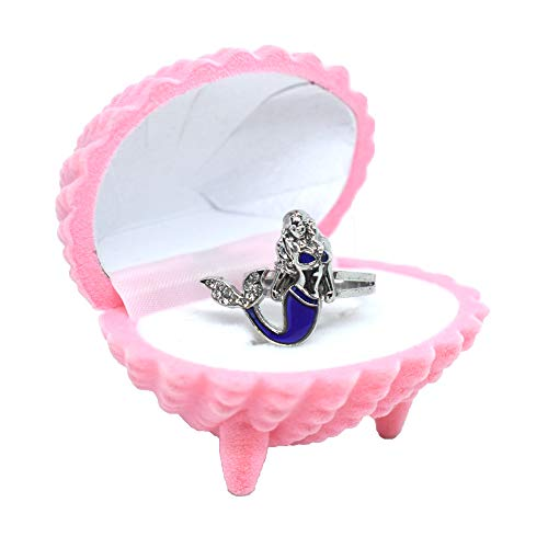 Fineder 1 Pack Mermaid Mood Ring Color Change Kids Ring with Pink Shell Ring Box for Girls, Little Girls Jewel Ring, Girl Pretend Play and Dress Up Ring, Size Adjustable, Little Girls]()