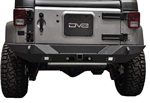 (DV8 Jeep Wrangler Rear Bumper Hammer Forged 4x4 Offroad Bumper w/ Accessories Fits 07-17 JK Model Class 3 Tow Hitch, LED Lights, and D-Rings Compatible with TC-6 Tire Carrier RBSTTB-10)