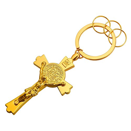 18k Gold Key - Alloy 18K Gold Plated Metal Keyrings Men St Benedict Crucifix Cross Key Tag Car/House Key Holder Keychain Key Ring