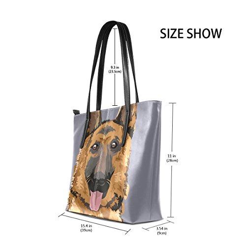 COOSUN Schäferhund Malerei PU Leder Schultertasche Handtasche und Handtaschen Tasche für Frauen
