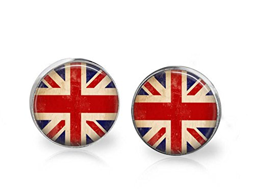 Nickel Free Costume Jewellery Uk (Union Jack Stud Earrings UK England British Flag Jewelry Hypoallergenic Surgical Steel Studs)