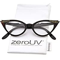 Vintage Cateyes 80s Inspired Fashion Clear Lens Gafas ojo de gato con diamantes de imitación (tortuga)