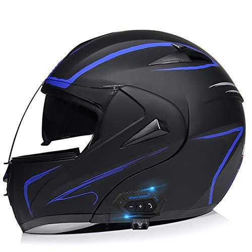 Integraalhelm met Bluetooth-headset, motor Bromfiets Straatfiets Racing Moto-helm met zonneklep Bluetooth-ruimte, jeugd…