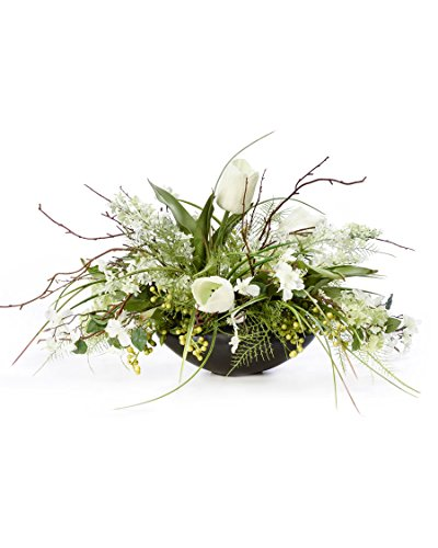 Petals Lilac, Dogwood & Tulip Silk Flower Centerpiece ()