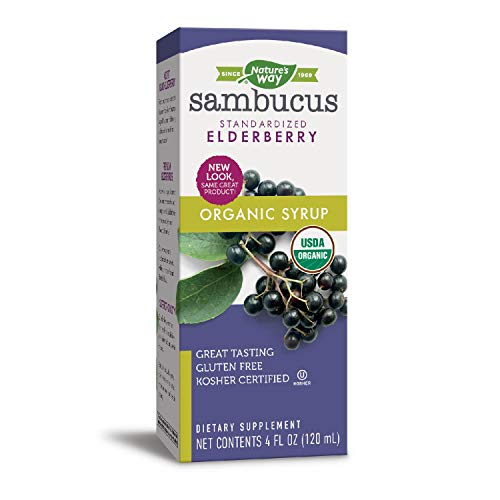 (Nature's Way Sambucus, Organic Standardized Elderberry Syrup, 4 Fl. Oz, 4 Fluid Ounce (Packaging May Vary))