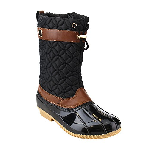 VIA PINKY EE07 Women's Mid Calf Drawstring Side Zipper Duck Winter Boots, Color:BLACK, Size:9 - Mid Calf Zip Boot