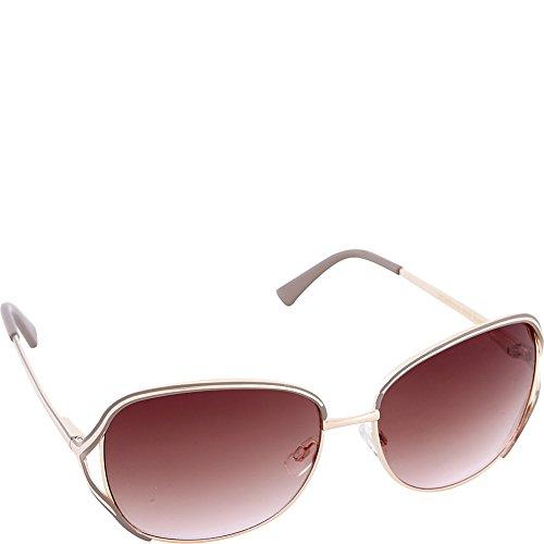 Nanette by Nanette Lepore Women's Ls151 Gldnd Rectangular Sunglasses, Gold/Nude, 60 - Nanette Sunglasses Lepore