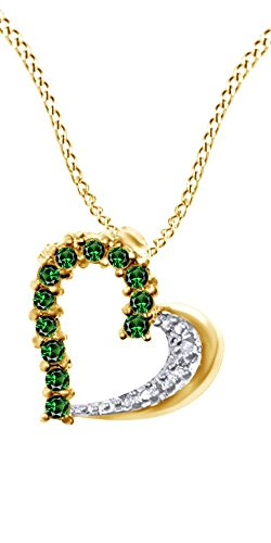 Jewel Zone US Simulated Green Emerald & Natural Diamond Accents Heart Pendant Necklace 925 Sterling Silver (0.5 Ct)