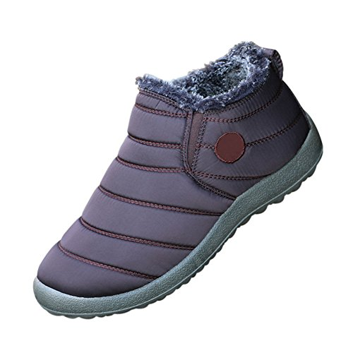 Snow Fur Ankle Winter Deylaying Fully Casual Outdoor Shoes Women Lined Waterproof Boots Brown Warm SqnzHwY