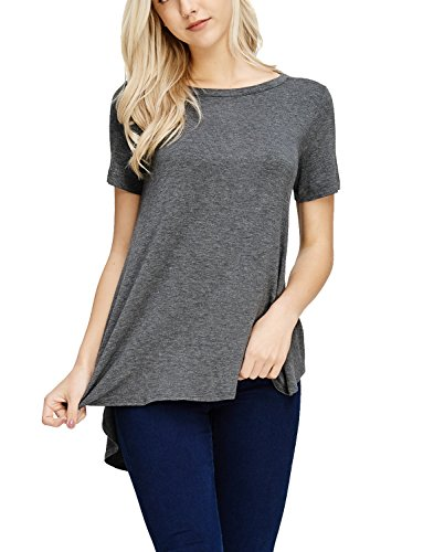 Stylish Top Made Sleeve French USA Womens Tunic in TAM Short Charcoal Ware Terry OwqpWzgEn