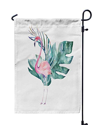 Shorping Welcome Garden Flag, 12x18Inch Couple Pink Flamingos Watercolor Print Invitation Birthday Celebration Greeting Card for Holiday and Seasonal Double-Sided Printing Yards Flags ()