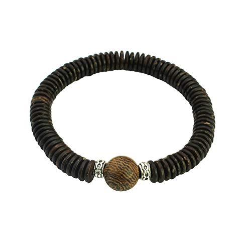 Shell Coconut Bracelet Stretch (SAWADA Handmade Wooden Bead Bracelet Coconut Rasta Reggae Wenge Beads Stretch Elastic Coconut Shell Bead Bracelet)