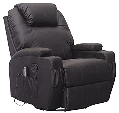 MSG Massage Recliner Leather Sofa Chair Ergonomic Lounge Swivel Heated with Control