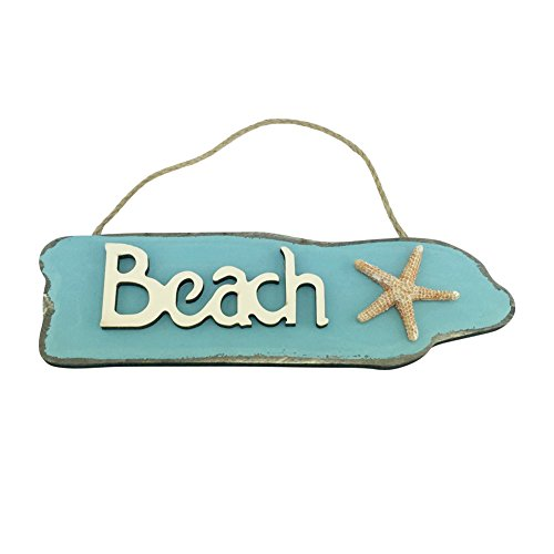 Wooden Beach Sign with Starfish - 9.5 Inches Long