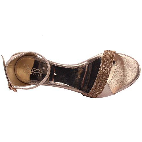 Unze Frauen Liam Verziert Mid-Low Stiletto Heels Party Schlupf Am Abend Knöchelriemen Hochzeit Zähler Sandalen Schuhe UK Größe 3-8 - 2638 Gold