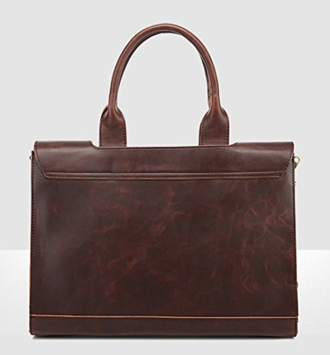 Messenger Satchel Handbags Pu Shoulder Brown Business Bag Briefcases Leather Men's BqwUXOn