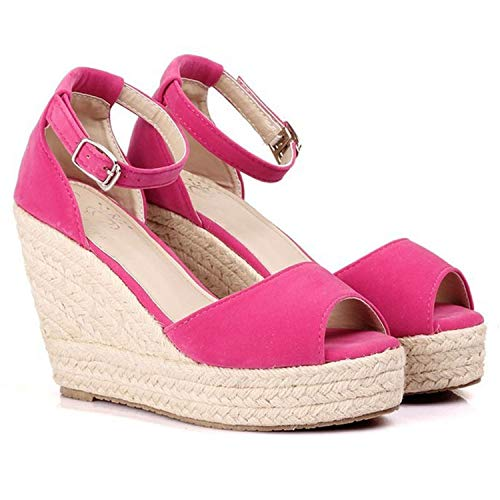 fairly_headstream Sandals Peep-Toe Shoes Woman 9CM/11CM Wedges for Women High Heels,Fuschia 11 cm,11
