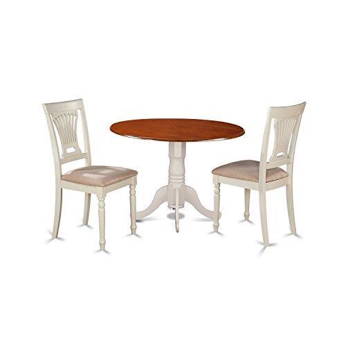 (East West Furniture DLPL3-BMK-C 3 Piece Dining Table and 2 Wooden Kitchen Chairs Dublin Set, Buttermilk/Cherry)