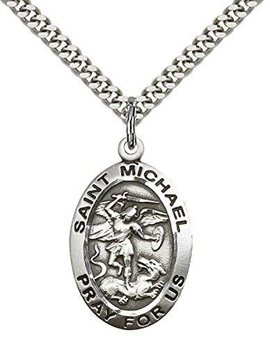Pewter St. Michael the Archangel Pendant 1 x 5/8 Inches with Stainless Steel Chain