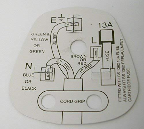 4/x standard UK con fusibile 13/Amp bianco rete 3/pin tappi per uso domestico con codice colore maniche pins Completo con vibrazione che mostra diagramma di cablaggio